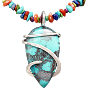 Colorful Southwestern Necklace With Azurite Pendant