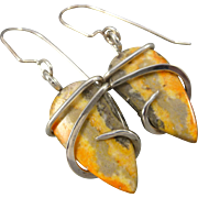 Bumble Bee Jasper Wire Wrap Earrings