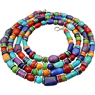 Turquoise, Coral, Lapis, Spiny Oyster Southwestern Long Necklace