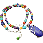 Colorful Southwestern Multi Stone Necklace With Lapis Pendant