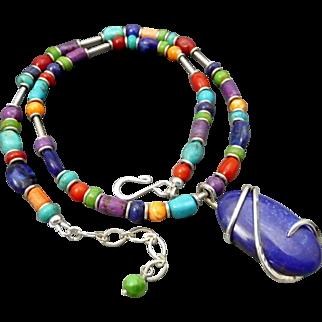 Colorful Southwestern Multi Stone Necklace With Lapis Pendant