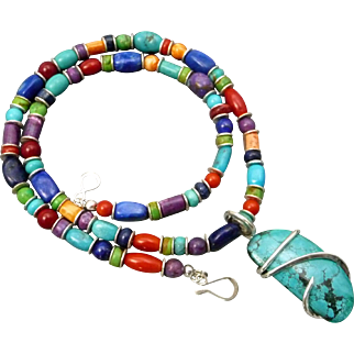 Southwestern Turquoise Gaspeite Lapis Coral And Spiny Oyster Necklace