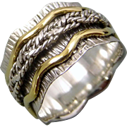 Sterling Silver And Brass Spinner Ring