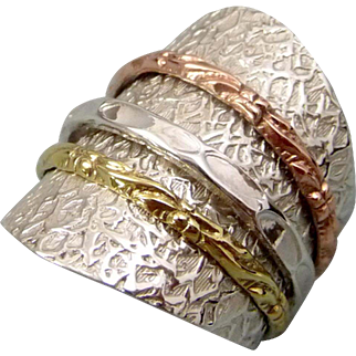 Sterling Silver Copper And Brass Spinner Ring