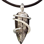 Orthoceras Fossil Sterling Silver Wrapped Pendant Necklace