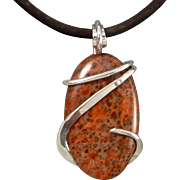 Red Orbicular Jasper Sterling Silver Wire Wrap Pendant Necklace