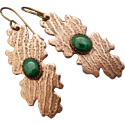 Green Malachite Copper Earrings