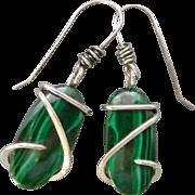 Sterling Silver Malachite Earrings