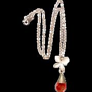 Rose Quartz Orchid Necklace