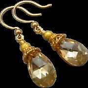 Gold Vermeil Faceted Swarovski Crystal Earrings