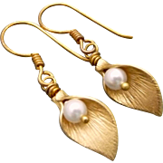 Swarovski Pearl Gold Plated Calla Lily Earrings