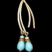 Turquoise Blue Swarovski Pearl Marquis Earrings