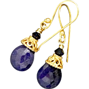 Sapphire gold vermeil earrings - Red Tag Sale Item