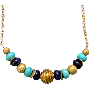 Turquoise And Lapis Gold Plated Necklace