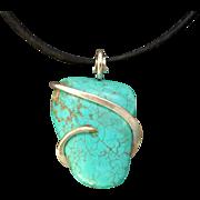 Turquoise Magnesite Silver Wrap Pendant Necklace