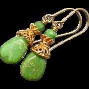 Kingman Mohave Green Turquoise Gold Vermeil Earrings