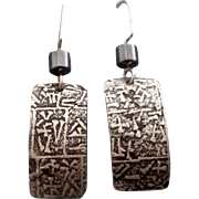 Rustic Silver And Hematite Relic Rune Earrings