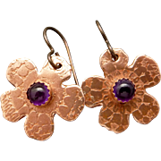 Copper Flower Amethyst Earrings
