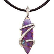 Mohave Purple Turquoise Sterling Silver Wire Wrap Pendant Necklace