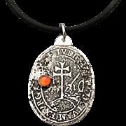 Rustic Silver Carnelian Relic Pendant Necklace