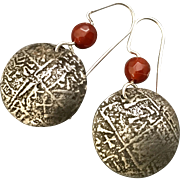 Rustic Silver And Copper Carnelian Relic Earrings
