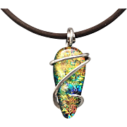 Dichroic Glass Sterling Silver Necklace