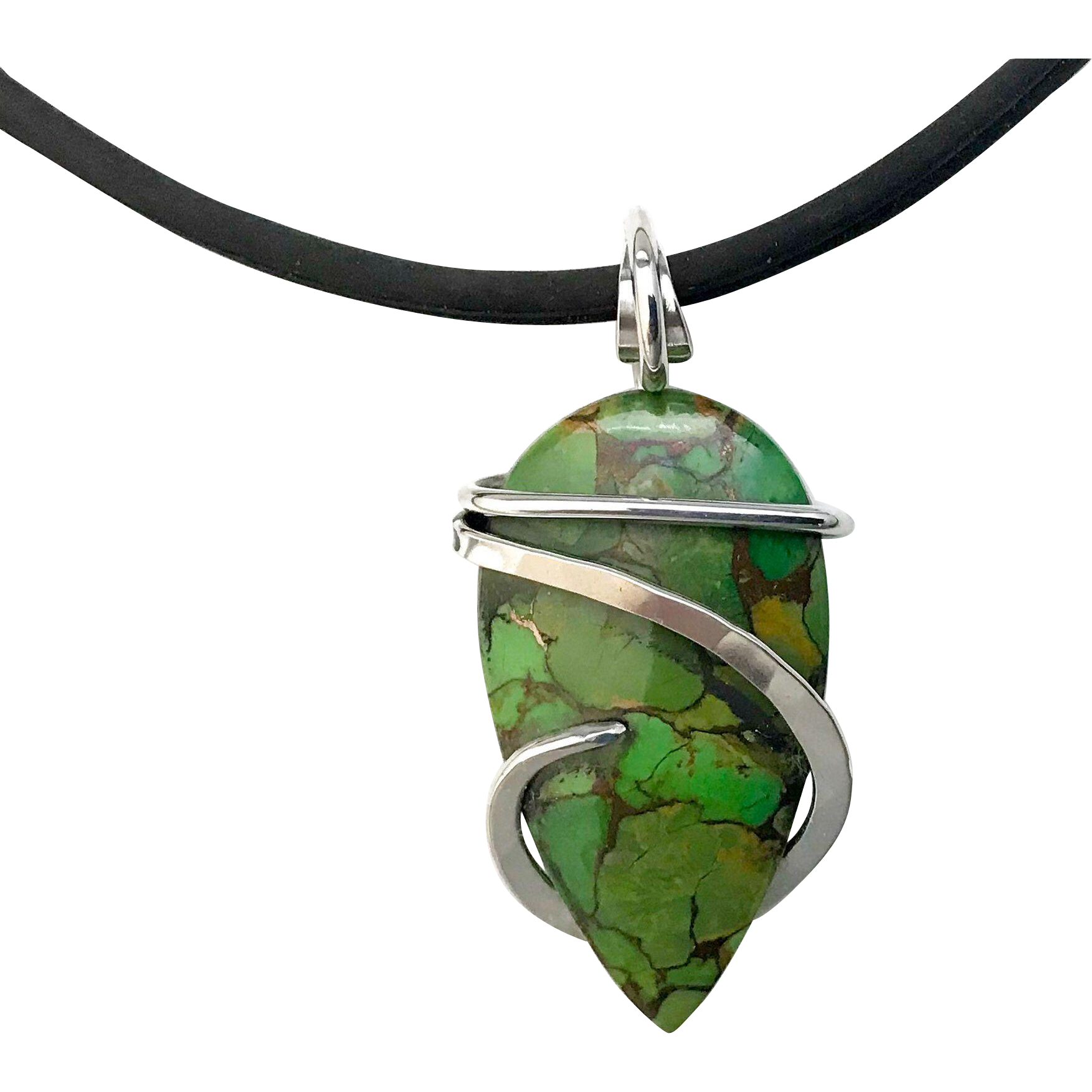 Mohave Green Turquoise Sterling Silver Wrapped Pendant Necklace