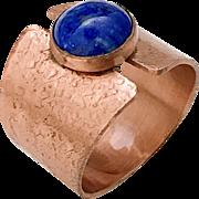 Textured Copper Lapis Lazuli Ring