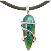 Parrot Wing Chrysocolla Sterling Silver Wire Wrap Pendant Necklace
