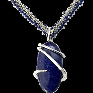 Lapis Lazuli Pendant And Fringe Necklace