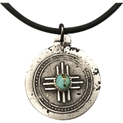 Rustic Silver Turquoise Relic Pendant Necklace