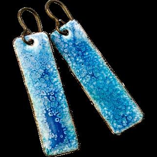 Blue Long Enamel Earrings