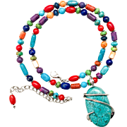 Southwestern Gemstone Beaded Multi Stone Necklace With Turquoise Pendant
