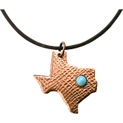 Copper And Turquoise Texas Pendant Necklace