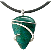 Chrysocolla Sterling Silver Wire Wrap Pendant Necklace