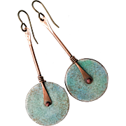 Long Enamel Disc Earrings