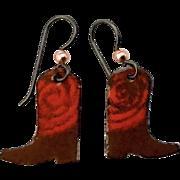 Western Boot Enamel Earrings