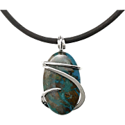 Cold Forged Silver Wrapped AZurite Chrysocolla Pendant Necklace