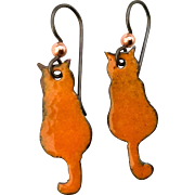 Copper Enamel Cat Earrings