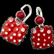 Red Coral Polka Dot Enamel Earrings