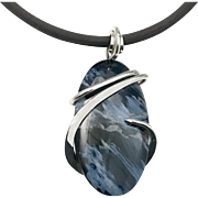 Blue Pietersite Sterling Silver Wire Wrap Pendant Necklace