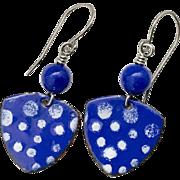 Blue Polka Dot Enamel Earrings