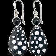 Black And White Polka Dot Enamel Earrings
