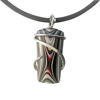 Fordite Sterling Silver Wrapped Pendant Necklace