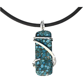 Kingman Turquoise Sterling Silver Wrapped Pendant Necklace