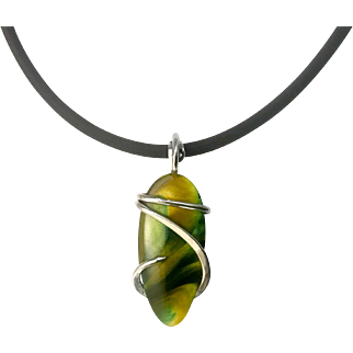 Surfite Sterling Silver Wire Wrap Pendant Necklace