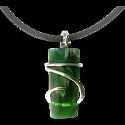Raffir Stripes Sterling Silver Wire Wrap Pendant Necklace