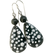 Black Polka Dot Enamel Earrings