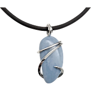 Sterling Silver Owyhee Blue Opal Wrapped Pendant Necklace