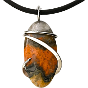 Bumble Bee Jasper Sterling Silver Wrapped Pendant Necklace
